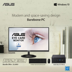 ASUS VZ229HE Monitor with Asus PN40 Mini PC & ASUS Wireless Keyboard Mouse Combo